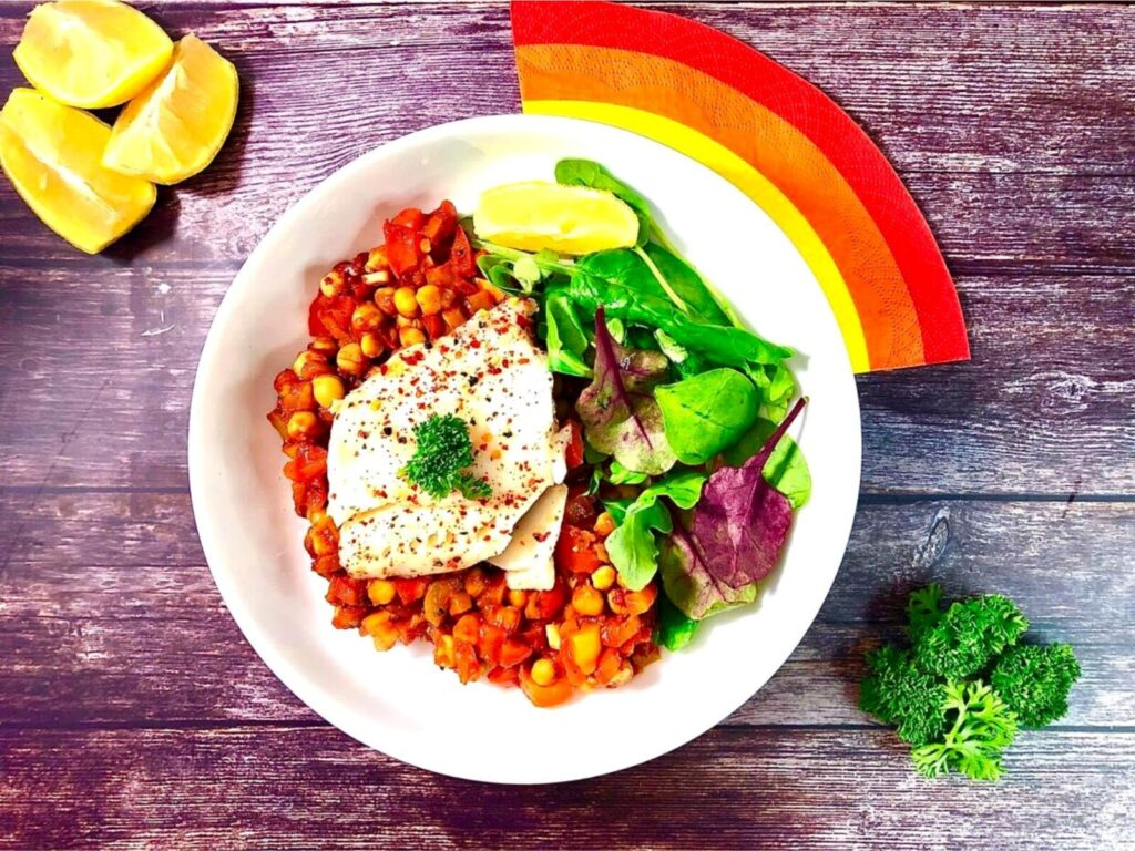 Spanish Cod with Chickpea stew