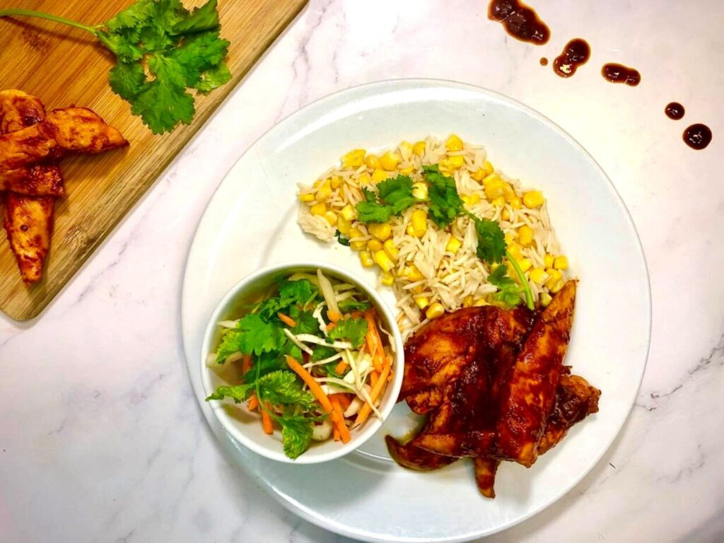 BBQ Chicken with Rice and Slaw