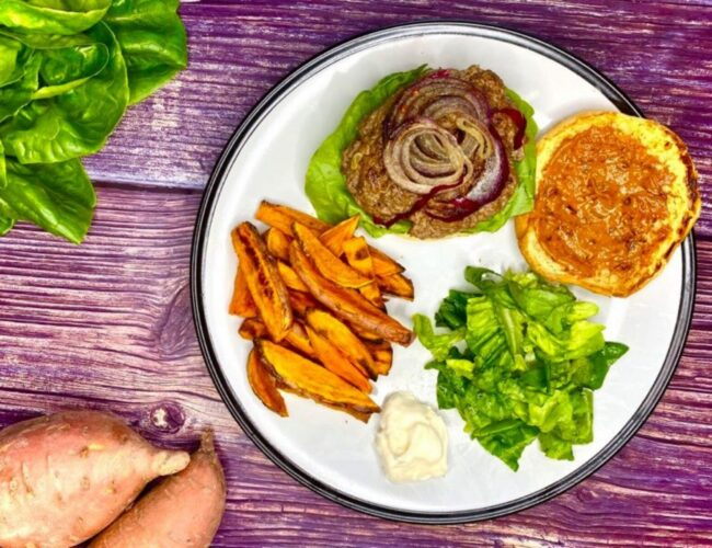 Chipotle Beef Burger with Sweet Potato Fries