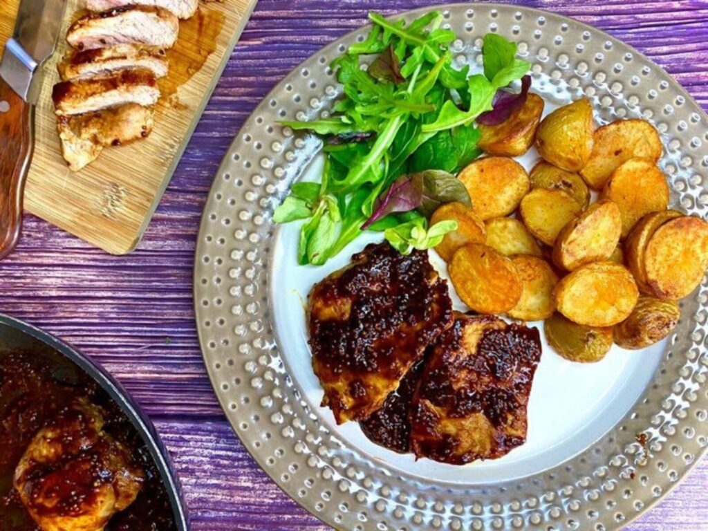 Pork Loin Steaks With BBQ Sauce & Crispy Potatoes