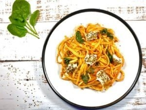 Tomato and Goats Cheese Linguine